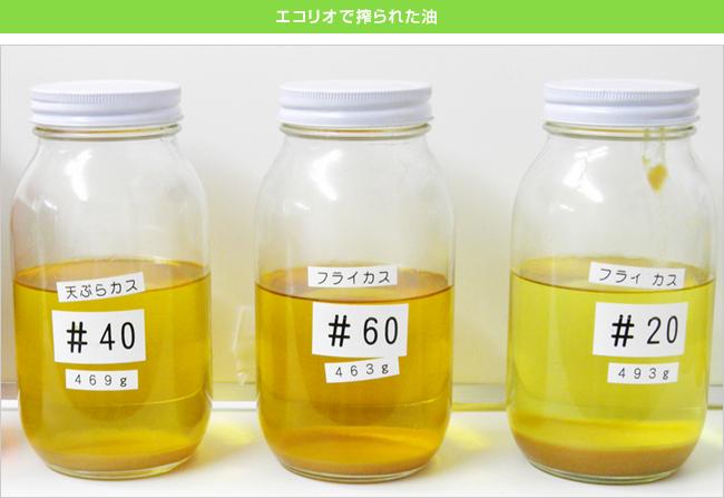 エコリオで搾油された油とカス